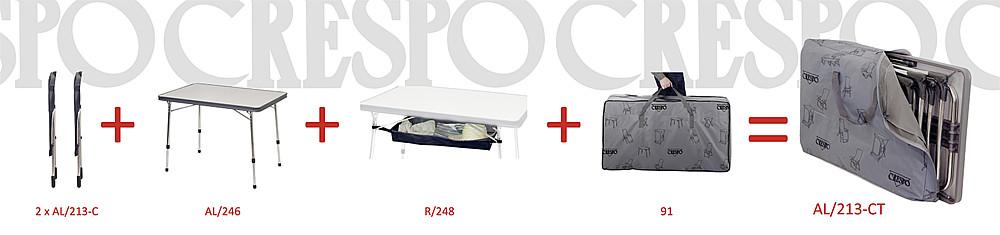 CRESPO   Set - 2 Klappstühle, Tisch, Netz, Transporttasche
